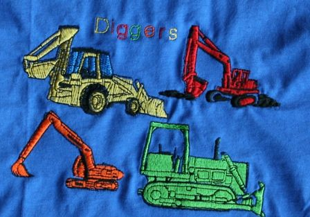 construction diggers tshirt blue
